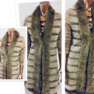 ALBERTO MAKALI 🍁Fur Cardigan Sweater Boho Pockets